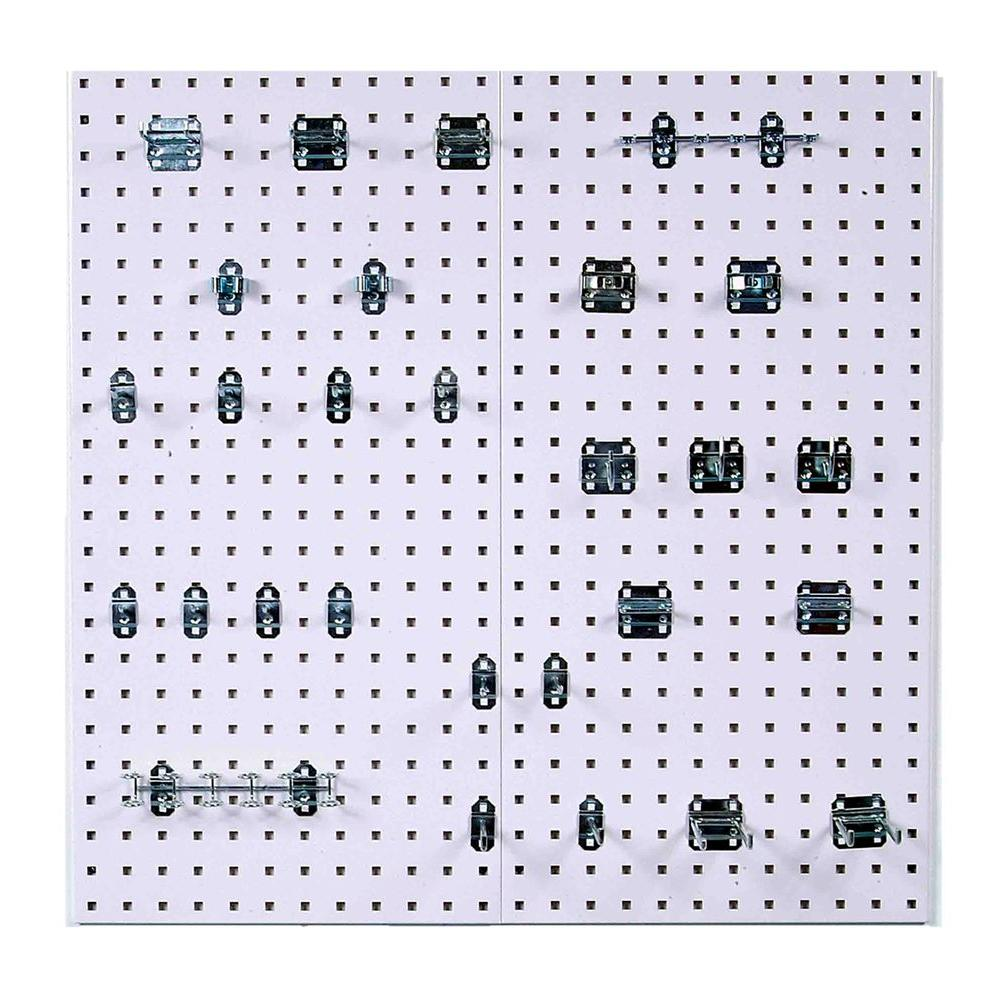 Locboard 3 8 In White Steel Square Hole Pegboards With Lochook Ortment 30