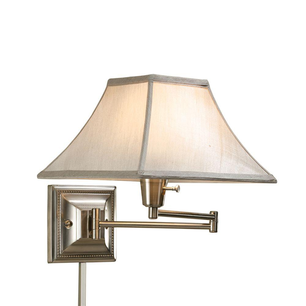 Home Decorators Collection Kingston 14 in. Silver and Cream Brushed Steel Swing Arm Lamp