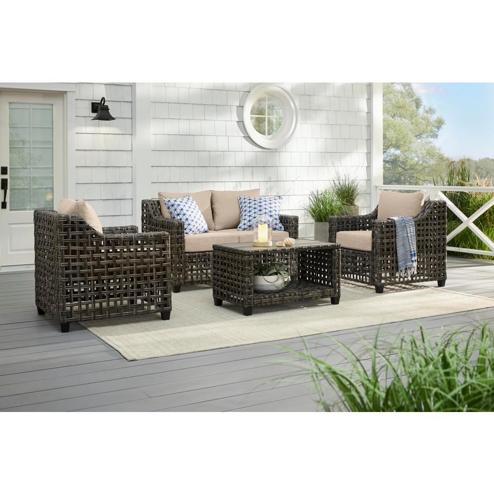 Briar Ridge Brown Wicker Outdoor Patio Loveseat with CushionGuard Putty Tan Cushions