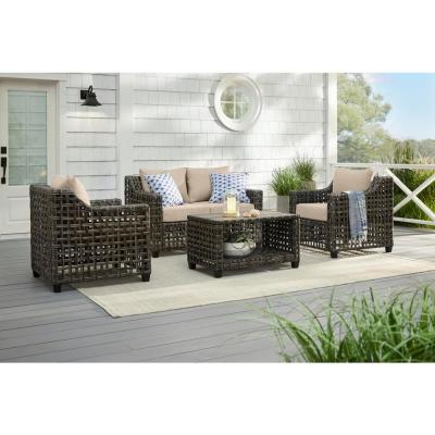 Briar Ridge 4-Piece Brown Wicker Outdoor Patio Conversation Deep Seating Set with CushionGuard Putty Tan Cushions