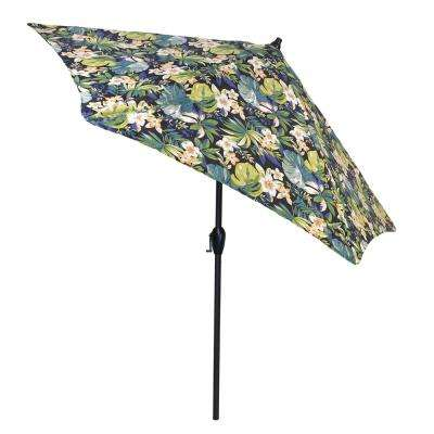 9 ft. Aluminum Patio Umbrella in Caprice Tropical with Tilt