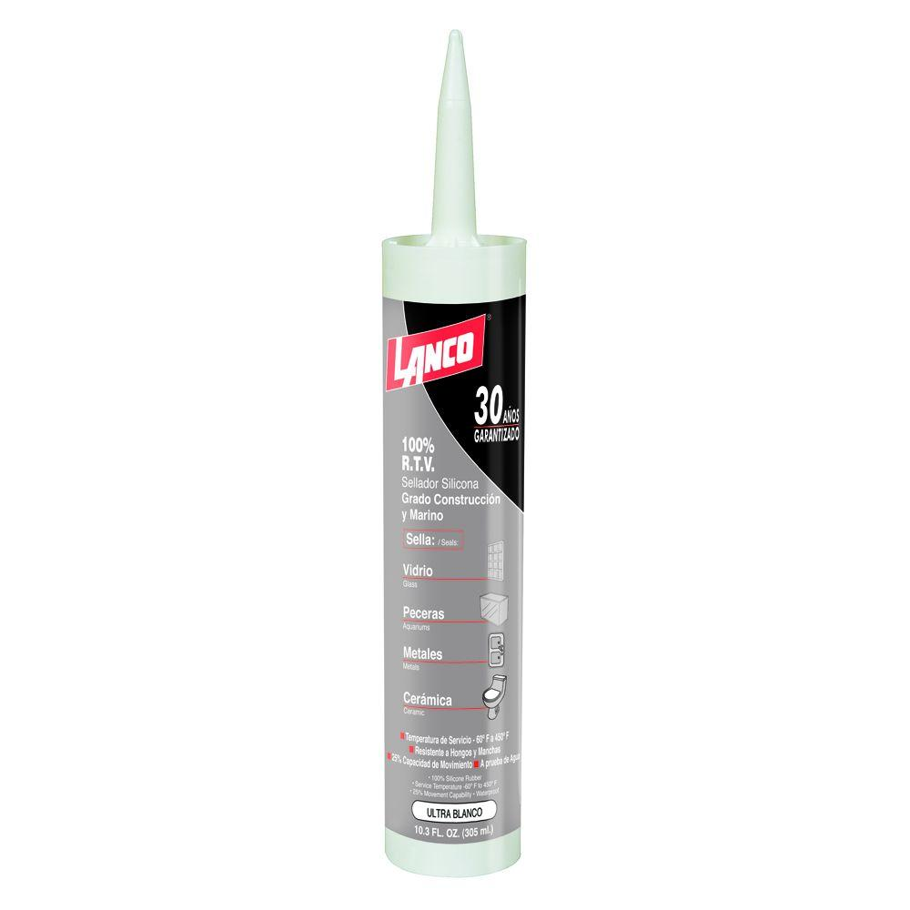 100% Silicone RTV 10.3 oz. White Silicone Sealant Construction and Marine