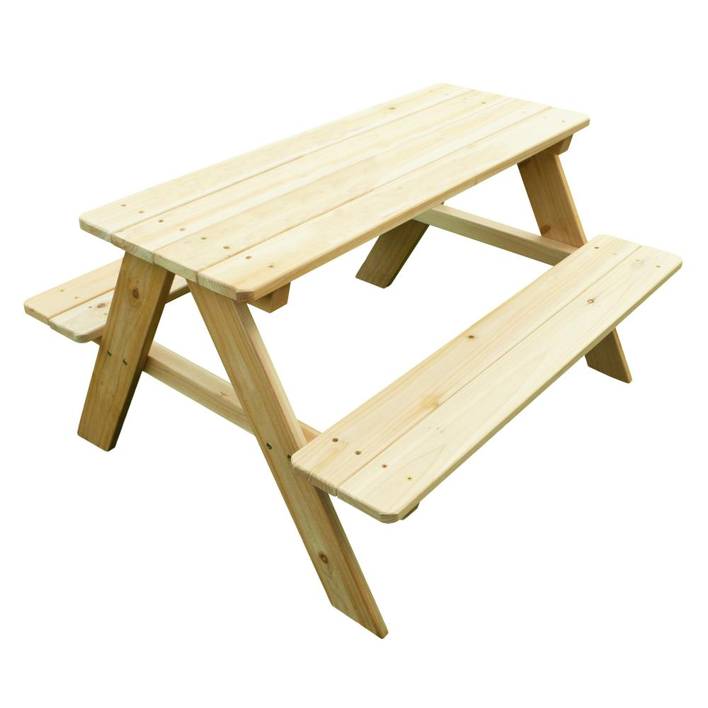 Turtleplay Wood Picnic Table For Kids