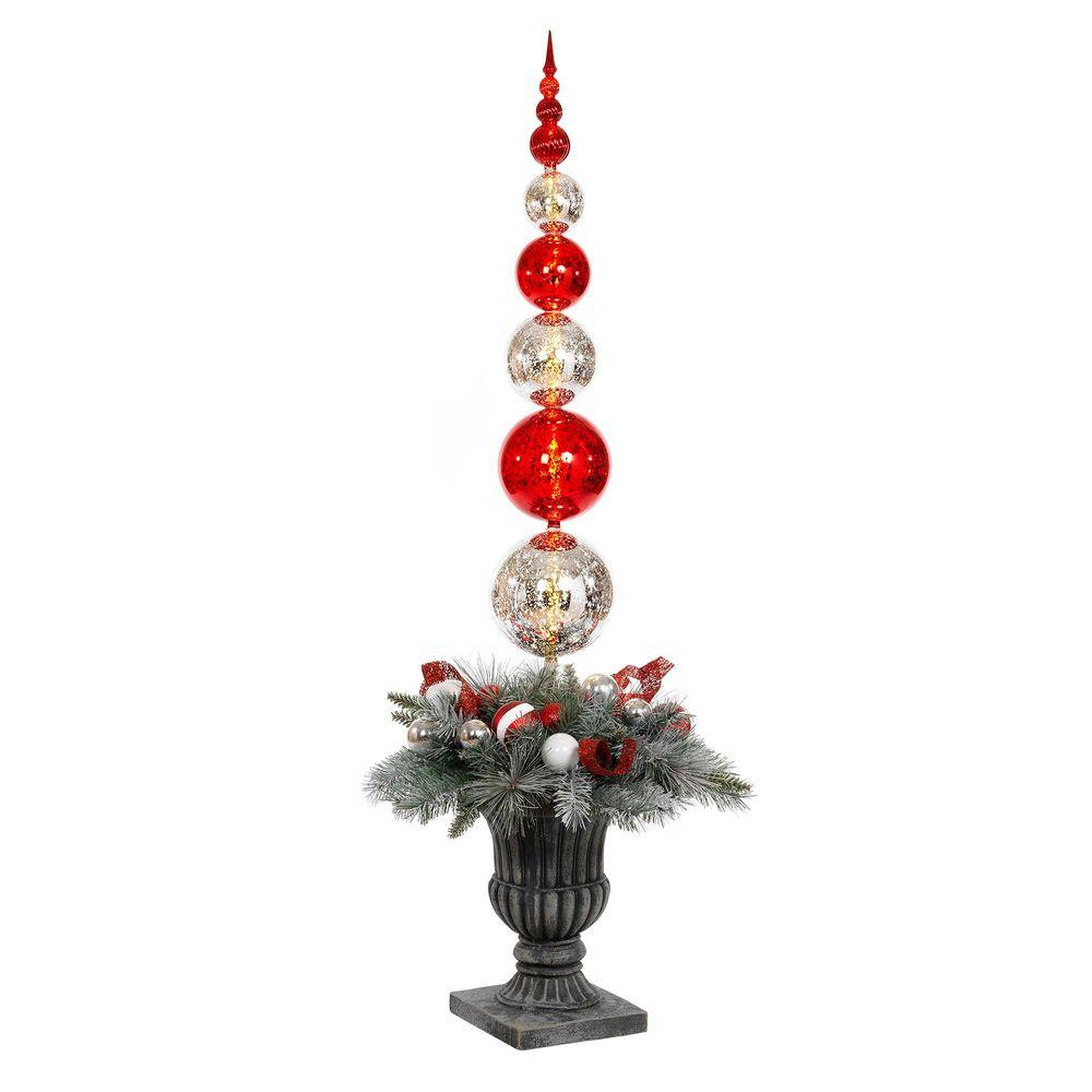 5 ft. Battery Operated Plastic Ball Ornament Topiary Tree with 30