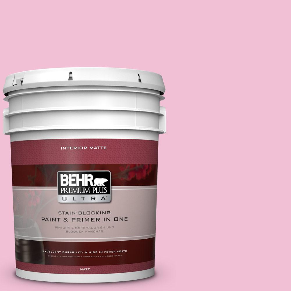 5 gal. #100B-4 Pink Chintz Matte Interior Paint and Primer in