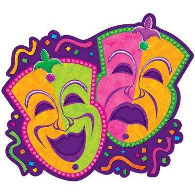 15 in. Mardi Gras Paper Comedy and Tragedy Masks Cutouts (9-Pack)