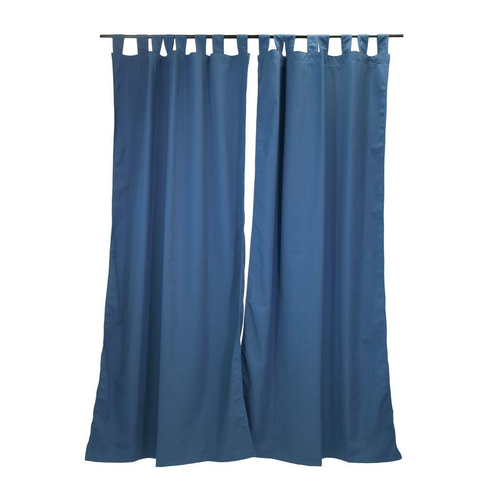Sunbrella 50 inch x 96 inch Canvas Sapphire Outdoor Tab Top Curtain Panel by Sunbrella