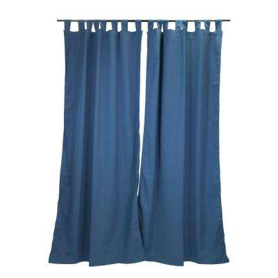 50 in. x 96 in. Canvas Sapphire Outdoor Tab Top Curtain Panel