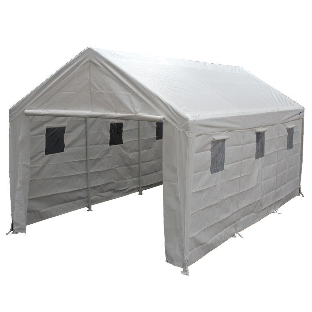 King Canopy Hercules 10 Ft W X 20 Ft D Steel Snow Load Canopy Hc1020pcsl The Home Depot
