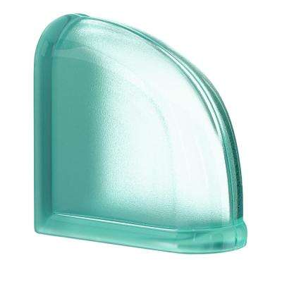 Mint 5.75 in. x 5.75 in. x 3.15 in. Classic Turquoise End Curved Glass Block
