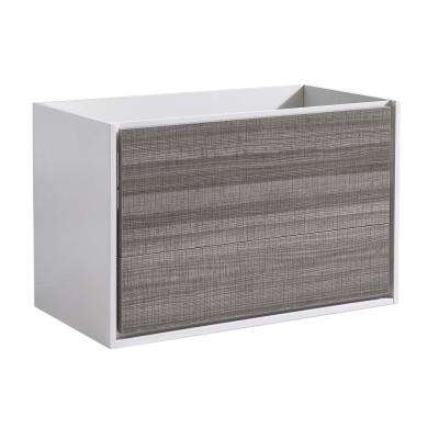 Catania 36 in. Modern Wall Hung Bath Vanity Cabinet Only in Glossy Ash Gray