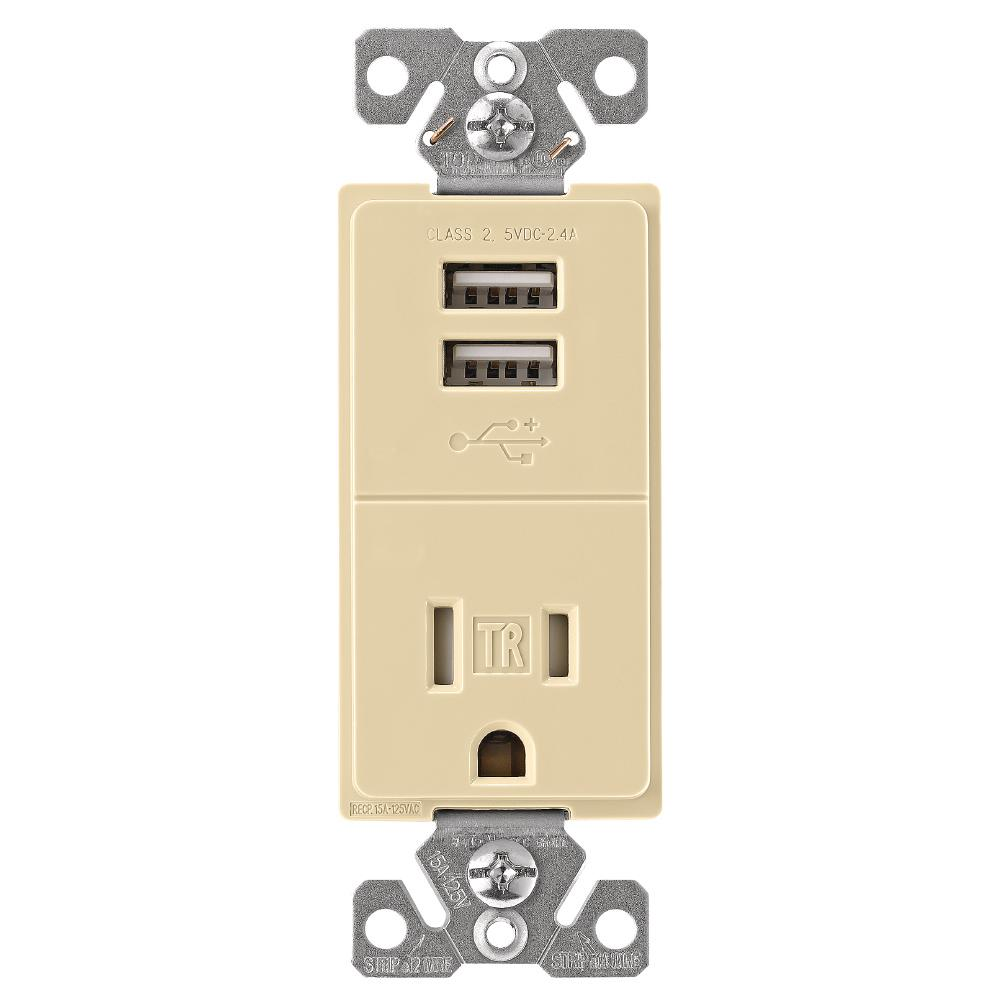 2.4 Amp USB Charger with Single Receptacle, Ivory
