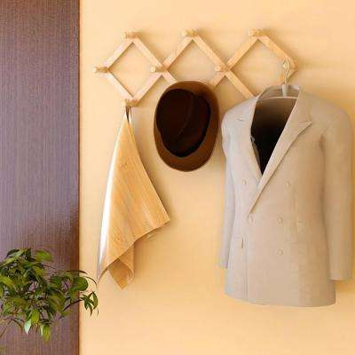 Pine Natural Solid Wood Retractable Wall-Mounted Rack