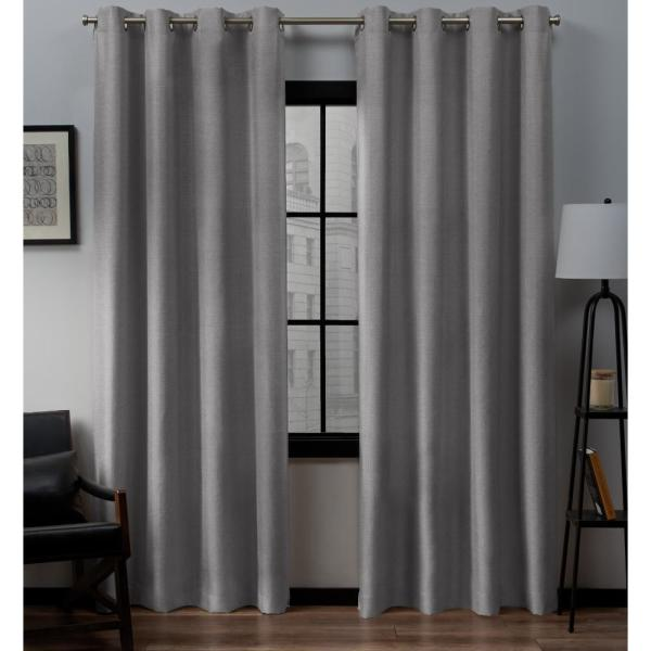 Loha 52 in. W x 84 in. L Linen Blend Grommet Top Curtain Panel in Dove Gray (2 Panels)