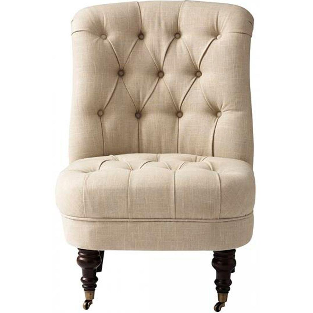 Home Decorators Collection Jillian Linen Accent Chair in Beige