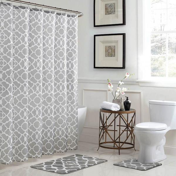 Bath Fusion Elsa Geometric 18 in. x 30 in. Bath Rug and 72 in. x 72 in. Shower Curtain 15-Piece Set in Light Gray/White YMB007223 - The Home Depot