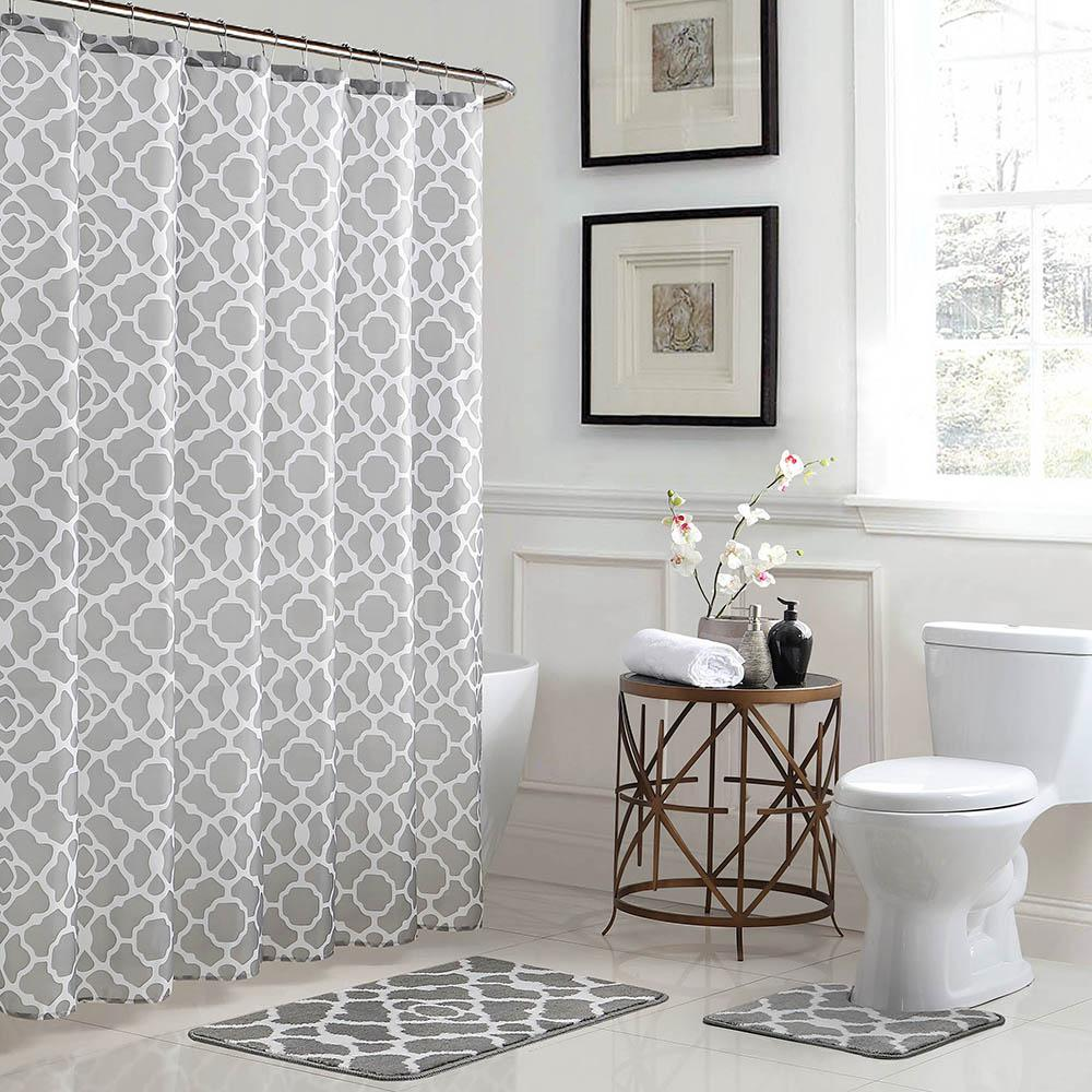 Bath Fusion Elsa Geometric 18 in. x 30 in. Bath Rug and 72 in. x ...