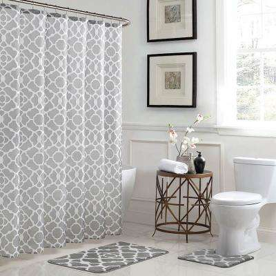 Elsa Geometric 18 in. x 30 in. Bath Rug and 72 in. x 72 in. Shower Curtain 15-Piece Set in Light Gray/White