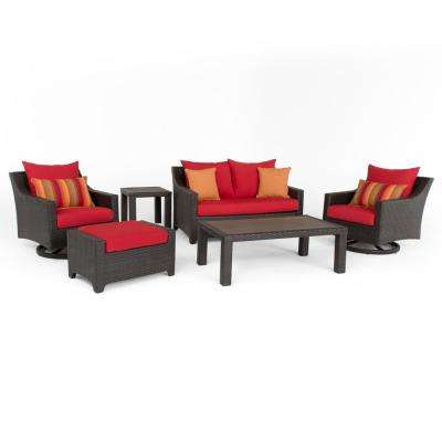 Deco 6-Piece All-Weather Wicker Patio Love and Motion Club Seating Set with Sunset Red Cushions