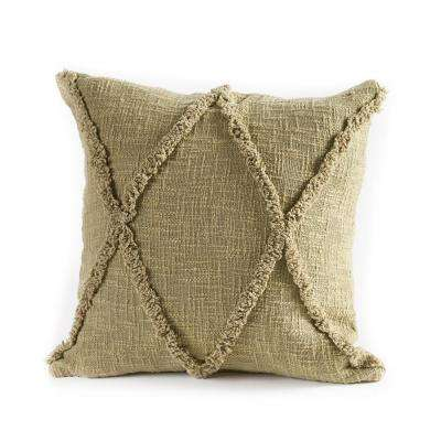 Carlton Diamonds Olive and Green 20 in. x 20 in. Pillow