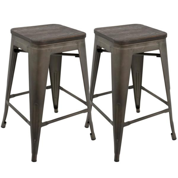 Oregon 24 in. Antique and Espresso Counter Stool (Set of 2)