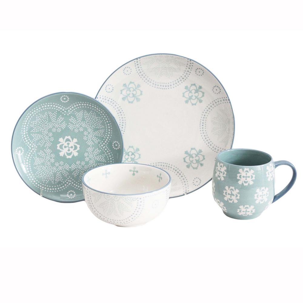 Phara 16-Piece Sky Blue Set Dinnerware