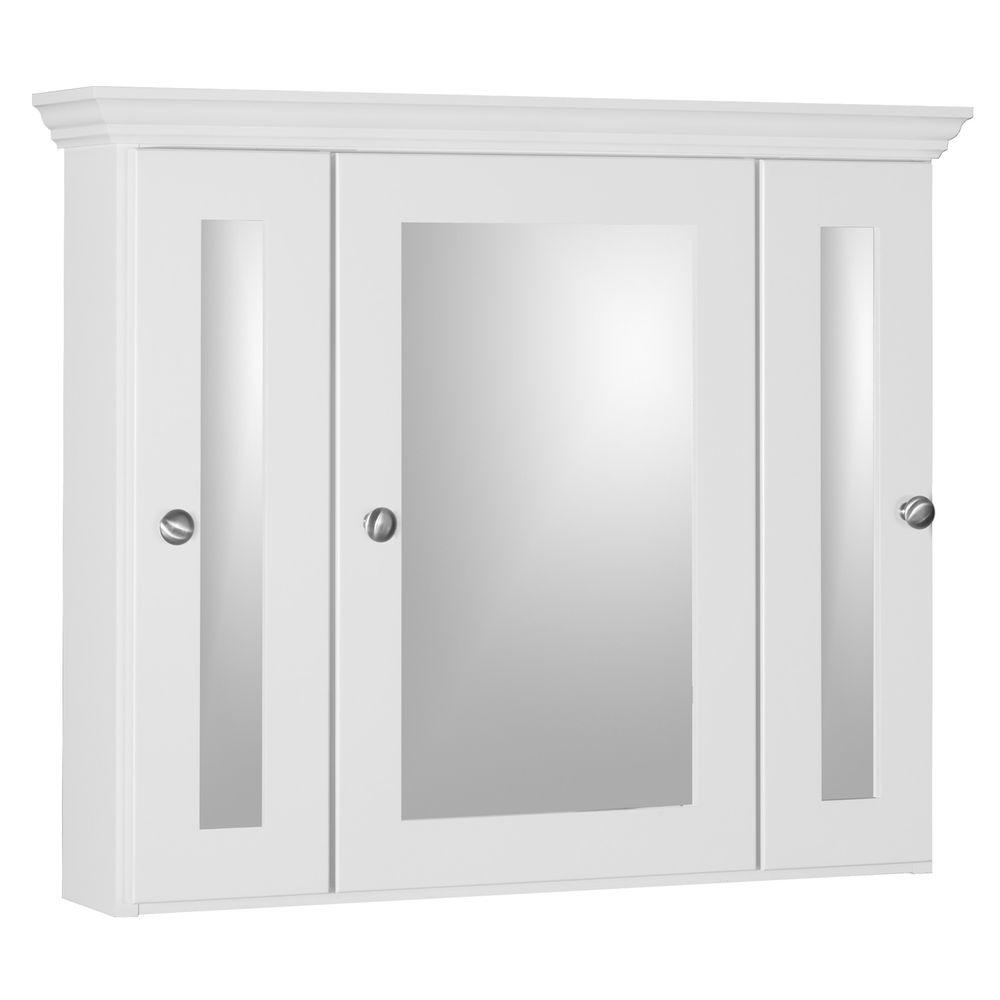 d framed tri view surface mount bathroom medicine cabinet in satin white 018452 the home depot - Medicine Cabinet Home Depot