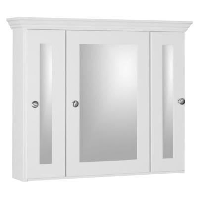 Shaker 30 in. W x 27 in. H x 6-1/2 in. D Framed Tri-View Surface-Mount Bathroom Medicine Cabinet in Satin White