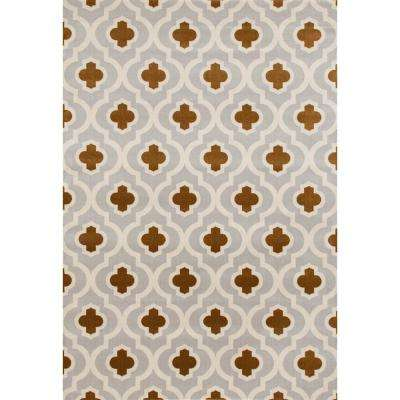 Moroccan Trellis Pattern High Quality Soft Light Gray/Yellow 5 ft. 3 in. x 7 ft. 3 in. Area Rug