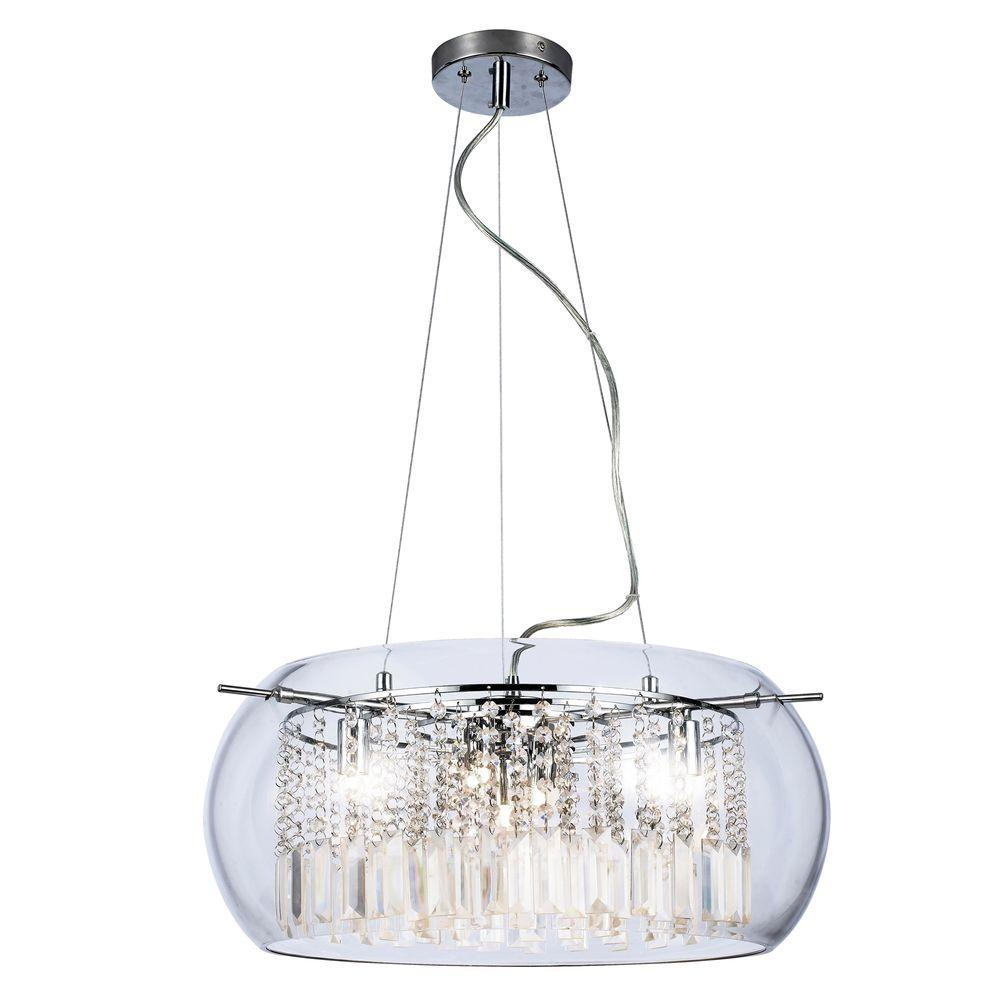 Crystal halogen chandeliers lighting the home depot baxendale 5 light chrome chandelier with clear glass shade and clear hanging crystals arubaitofo Image collections