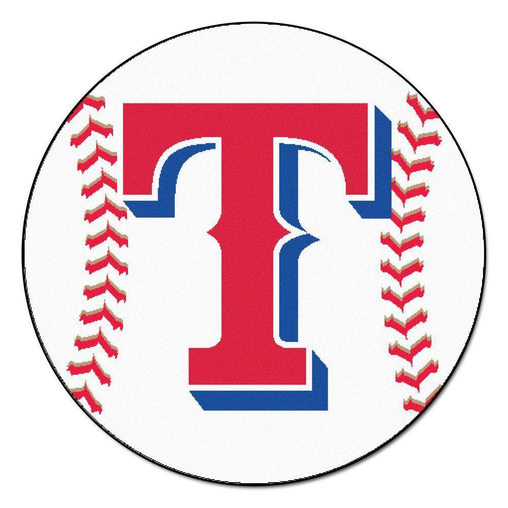 Fanmats mlb texas rangers white 2 ft round area rug 6425 - Texas rangers logo images ...