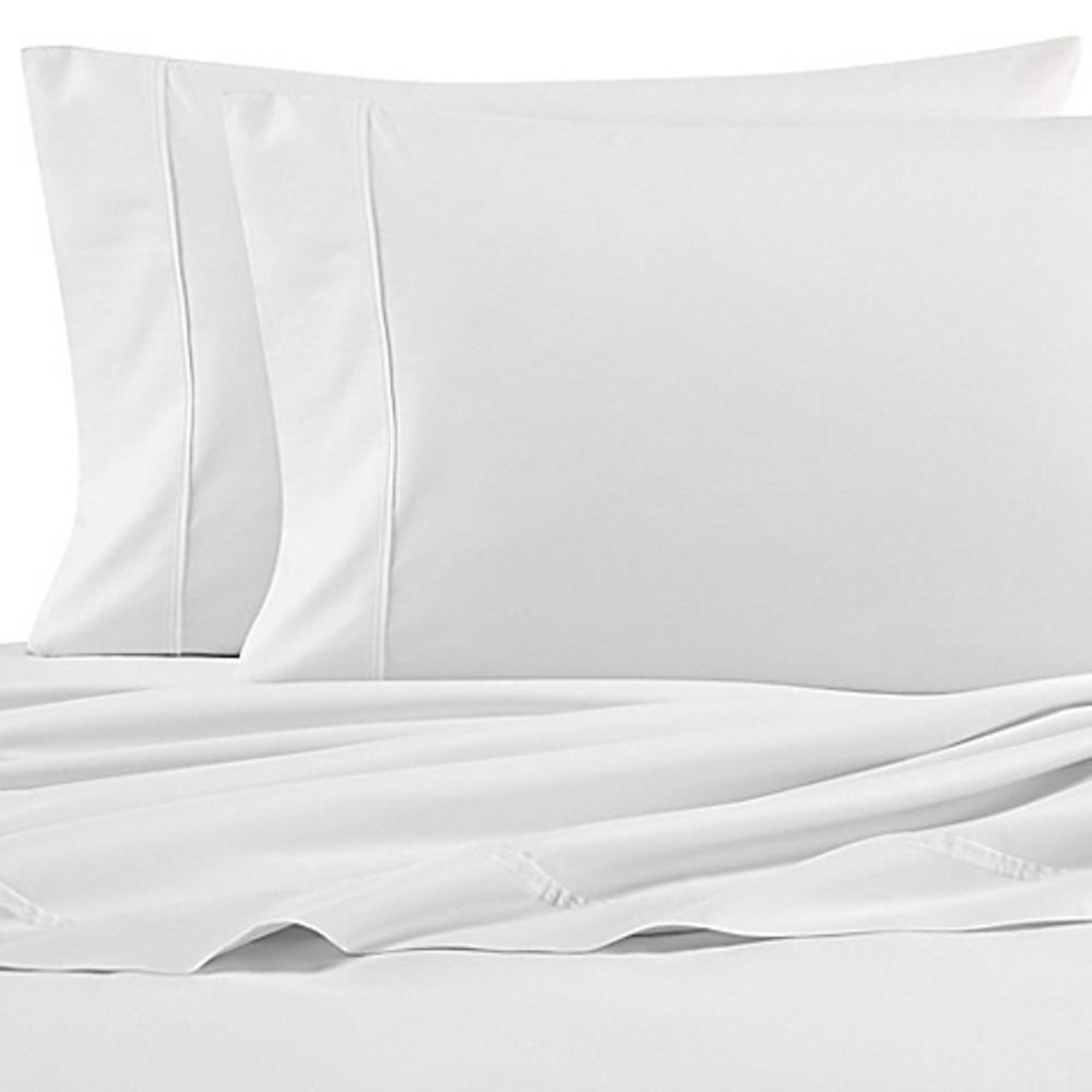 4-Piece Coastal White Solid 200-Thread Count Cotton King Sheet Set