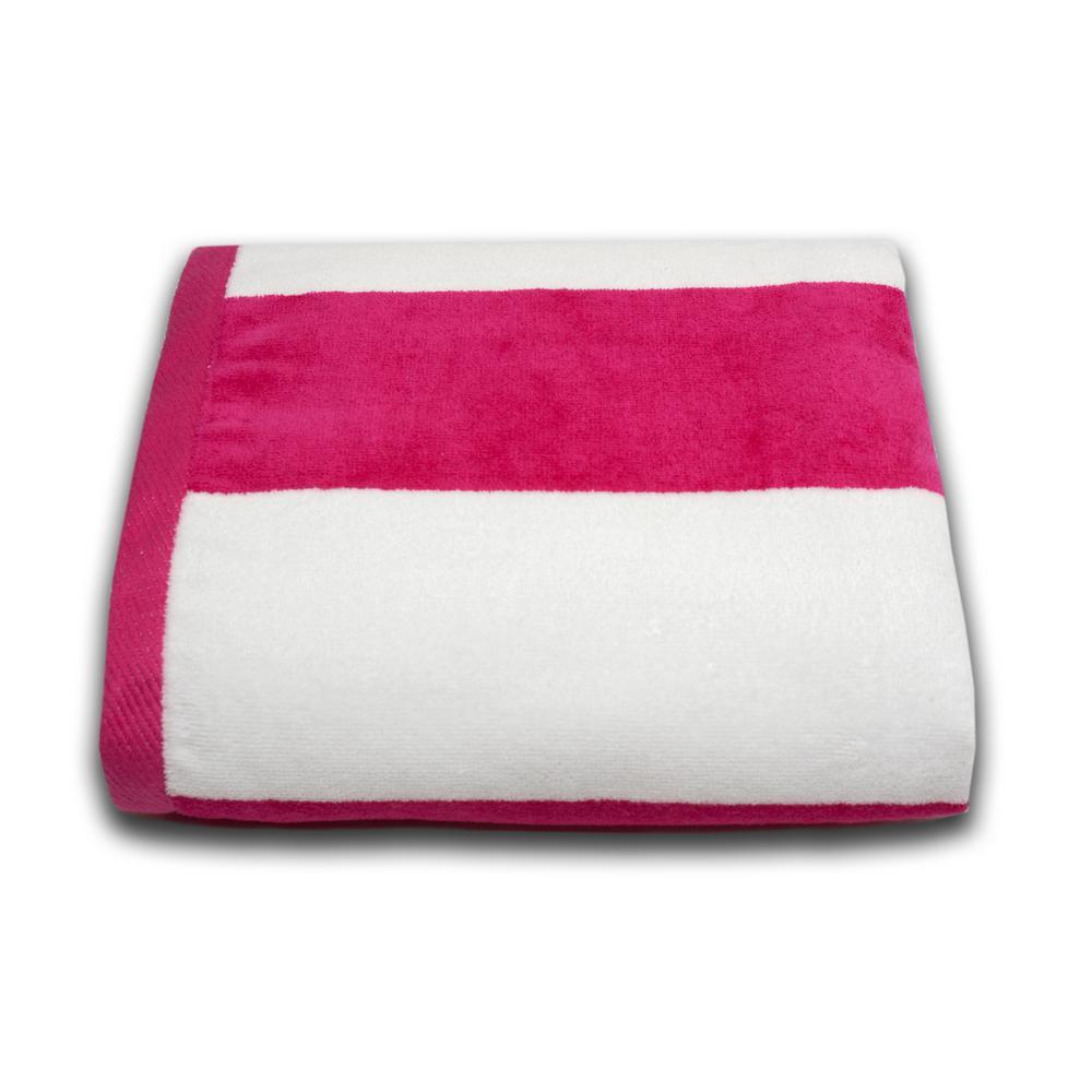 Tropical Cabana 100% Cotton Beach Towel in Fuchsia