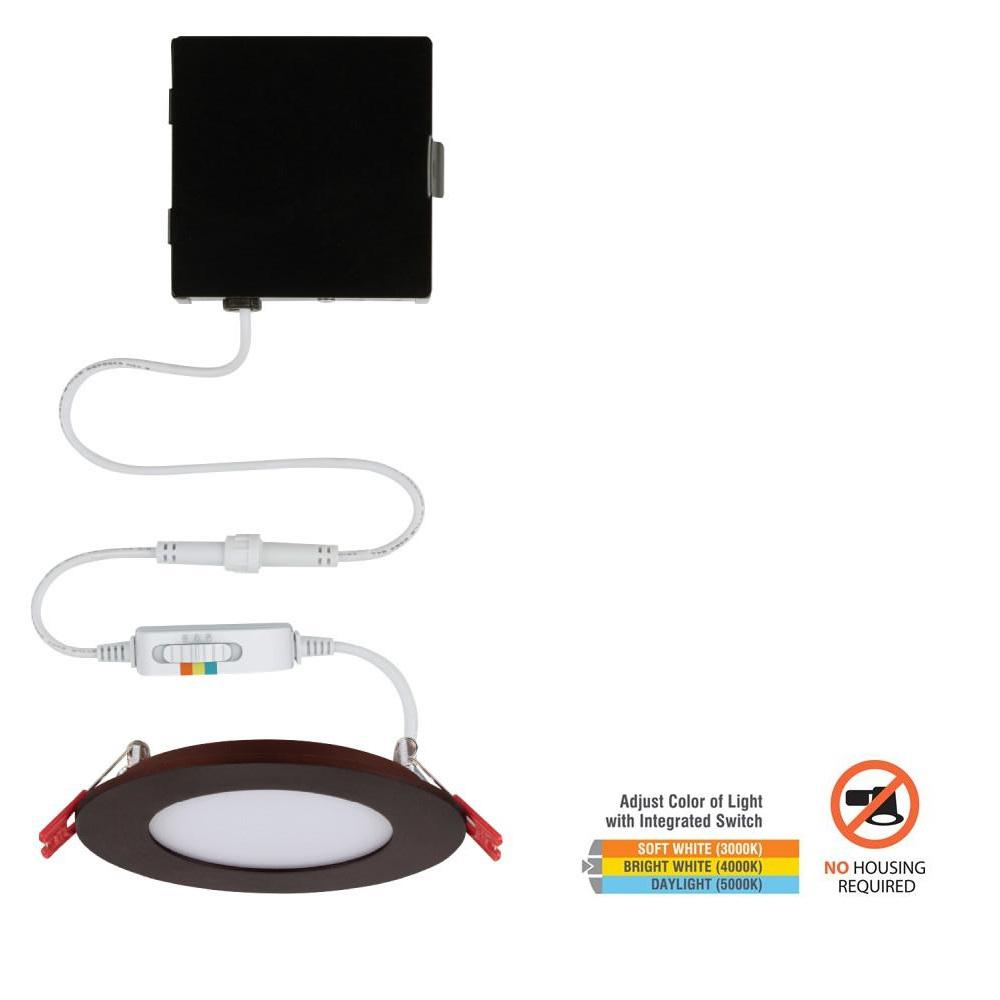 Commercial Electric Ultra Slim 4 in. Color Selectable Canless LED Recessed Kit