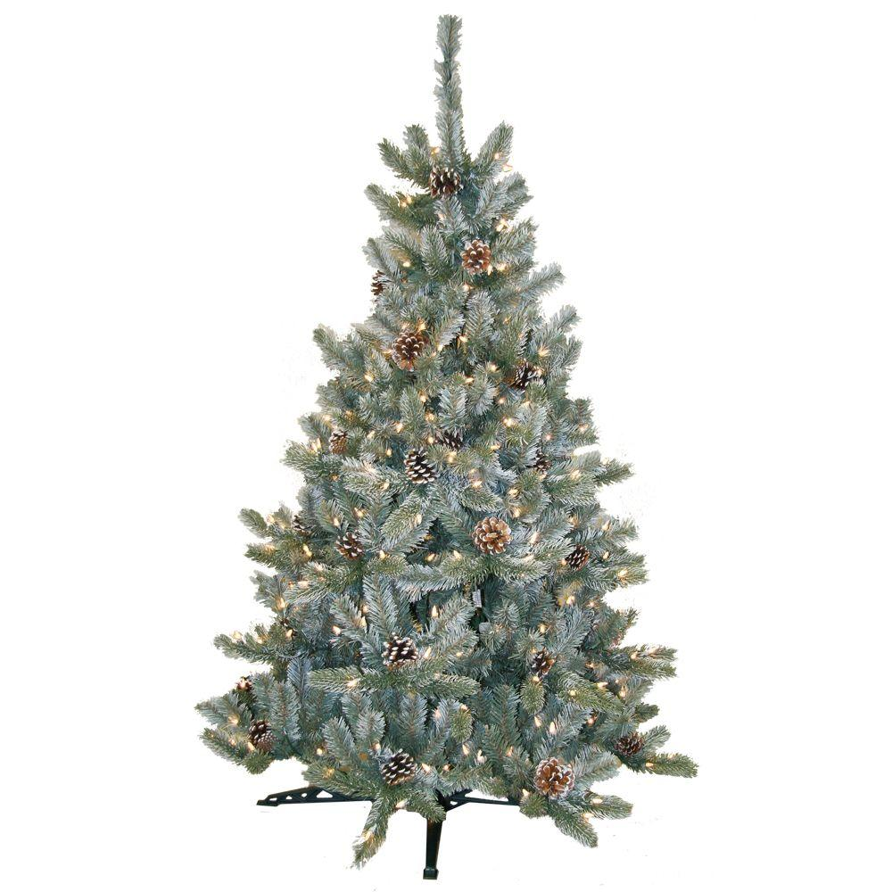 General Foam 4.5 ft. Pre-Lit Siberian Frosted Pine Artificial Christmas Tree with Clear Lights and Pinecones