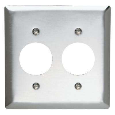 302 Series 2-Gang Single Receptacle Wall Plate in Stainless Steel