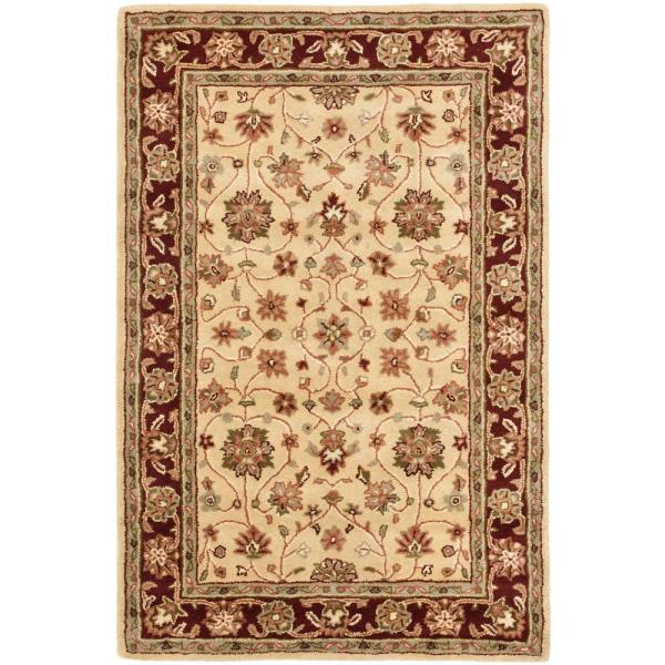 Safavieh Heritage Ivory Red 4 Ft X 6 Ft Area Rug Hg965a 4 The Home Depot