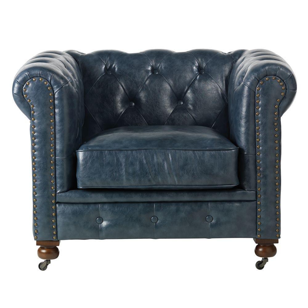 Charmant Home Decorators Collection Gordon Blue Leather Arm Chair