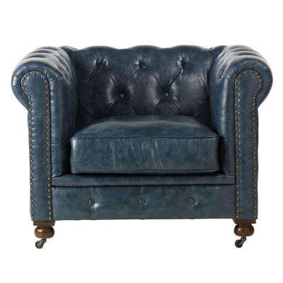 Gordon Blue Leather Arm Chair