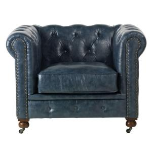 Delightful Internet #203195564. Home Decorators Collection Gordon Blue Leather Arm  Chair