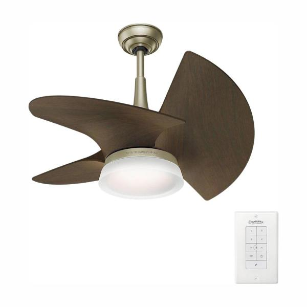 Orchid 30 in. LED Indoor/Outdoor Pewter Revival Ceiling Fan with Wall Control