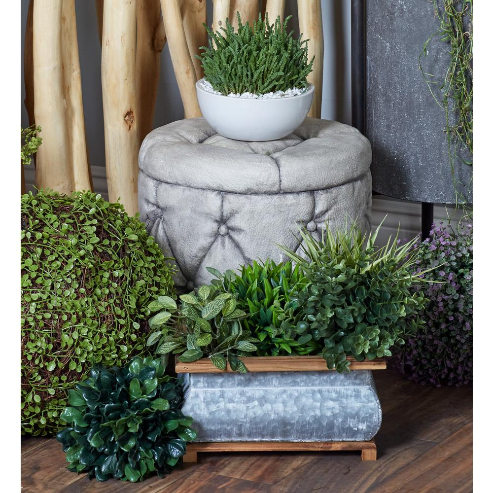 Gray Iron Square Curved Planters with Brown Wood Tops and Bases