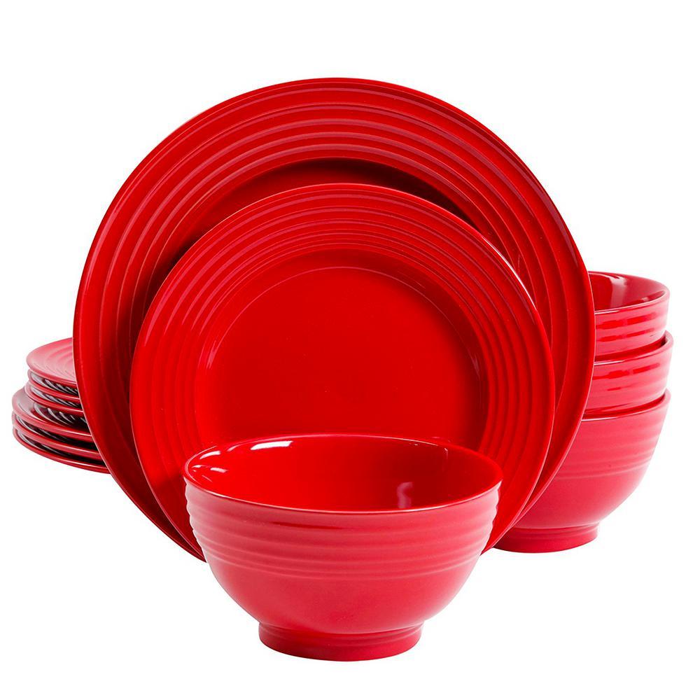 Plaza Cafe 12-Piece Red Dinnerware Set