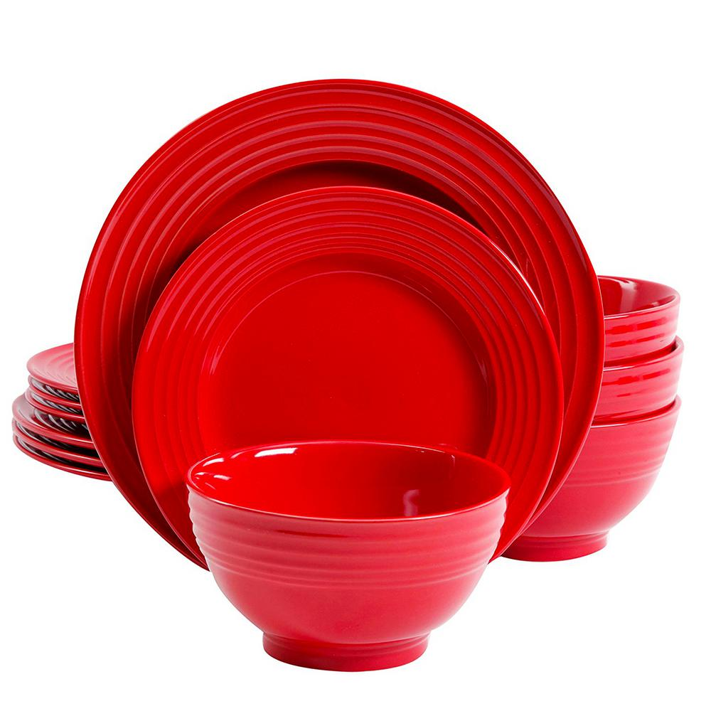 Gibson Plaza Cafe 12-Piece Red Dinnerware Set  sc 1 st  HomeDepot.com & Gibson Plaza Cafe 12-Piece Red Dinnerware Set-98599931M - The Home ...