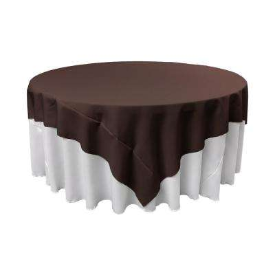 90 in. x 90 in. Brown Polyester Poplin Square Tablecloth