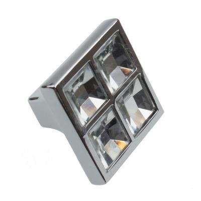 1 in. Small Square Clear K9 Crystal Cabinet Knob (10-Pack)
