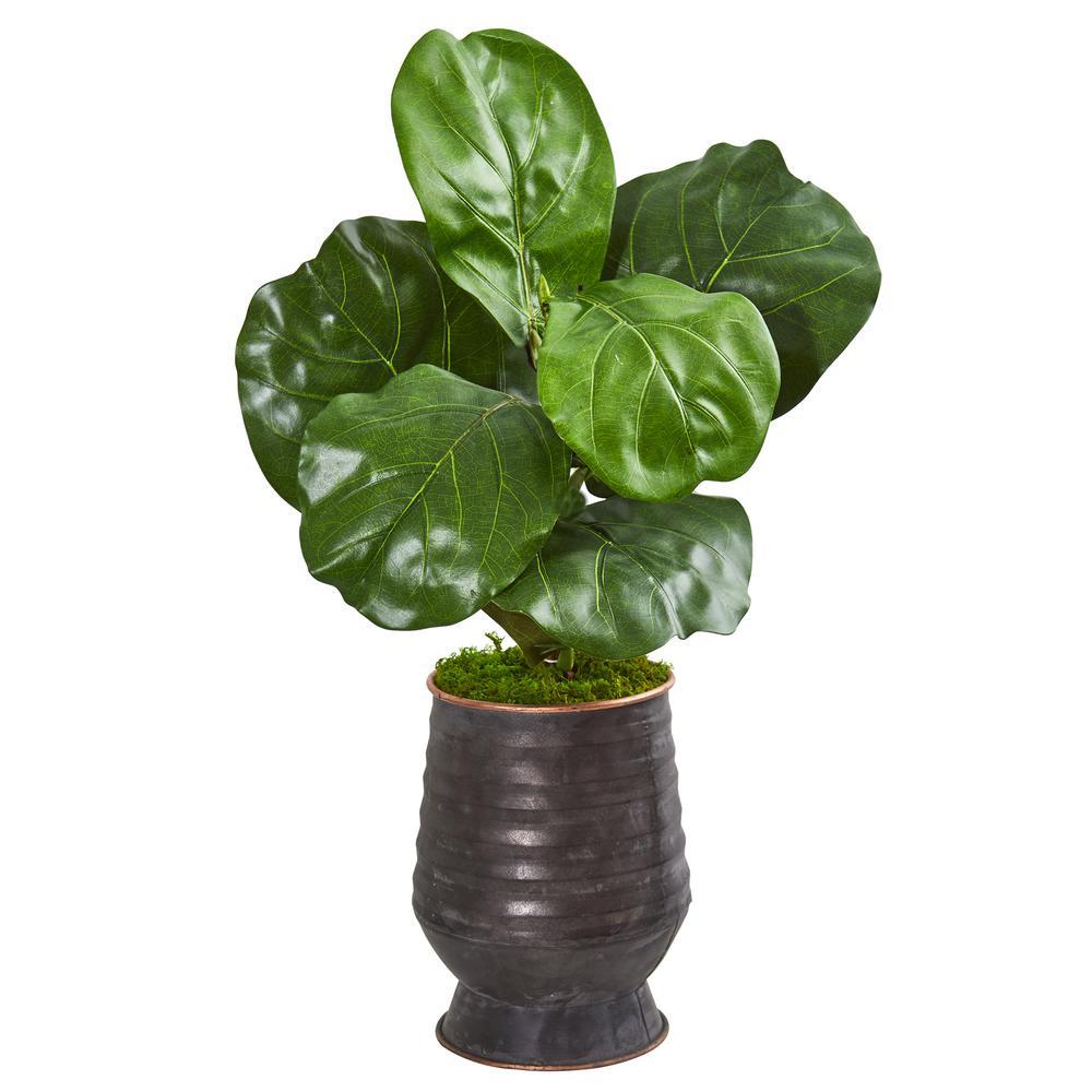 24 in. Fiddle Leaf Artificial Plant in Decorative Planter