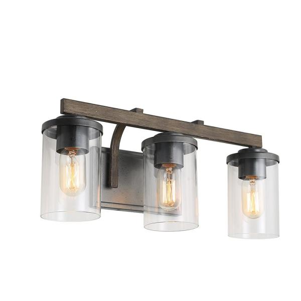 3-Light Dark Brown Industrial Rustic Vanity Bathroom Sconce Faux Wood Bath Light with Clear Glass