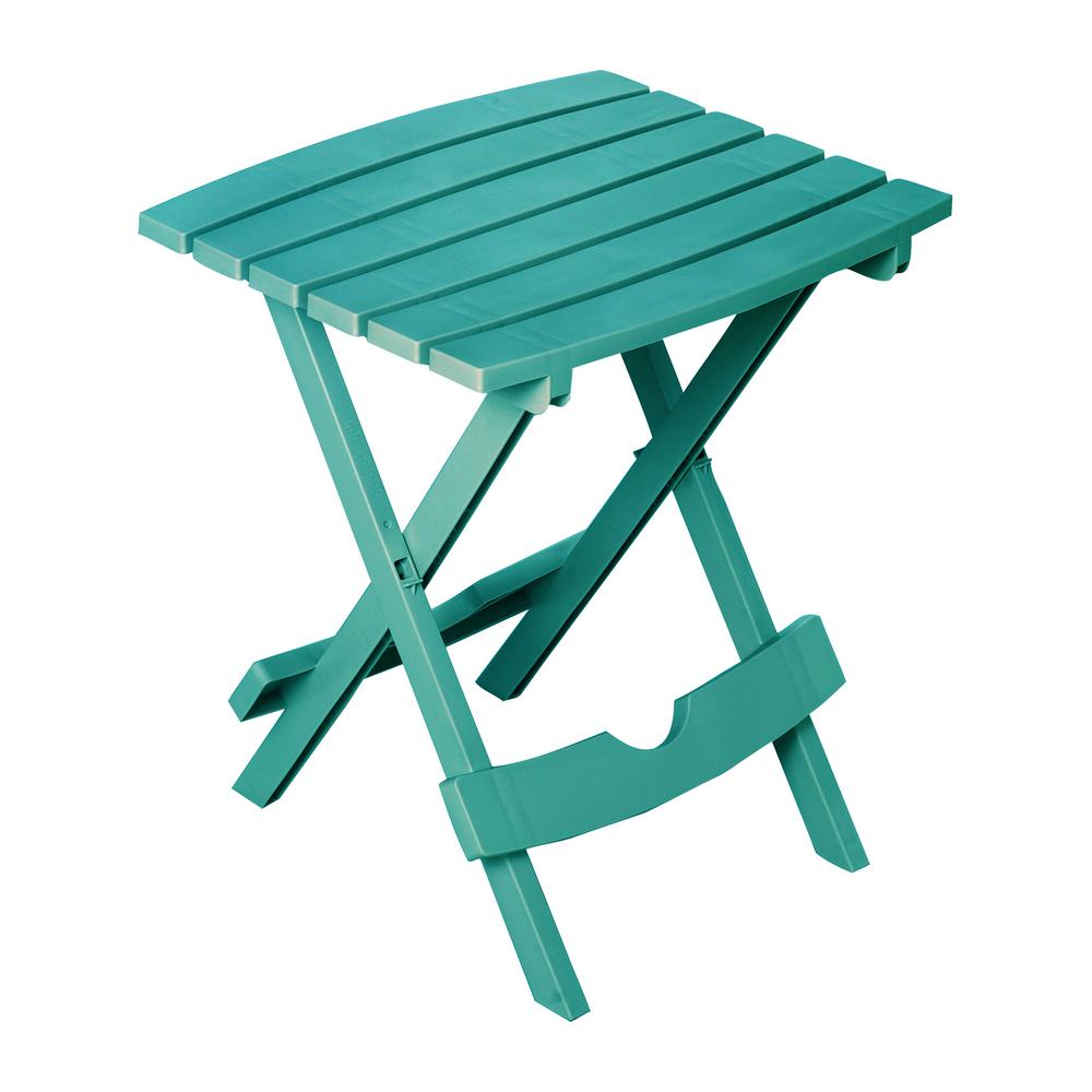 Adams Manufacturing Quik-Fold Teal Resin Plastic Outdoor Side Table - Adams Manufacturing Quik-Fold Teal Resin Plastic Outdoor Side Table