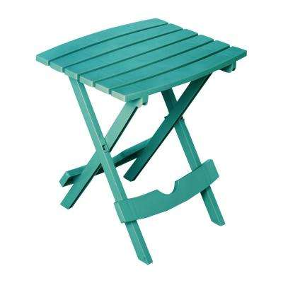 Quik-Fold Teal Resin Plastic Outdoor Side Table
